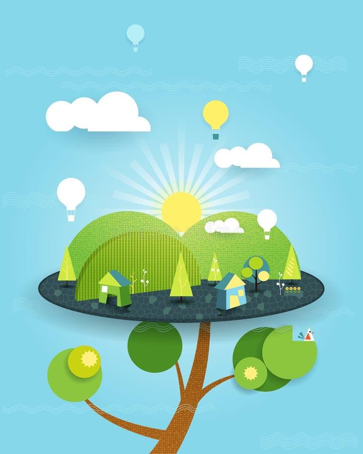 Fantasía del ejemplo de la casa en el árbol en el fondo del cielo azul libre illustration