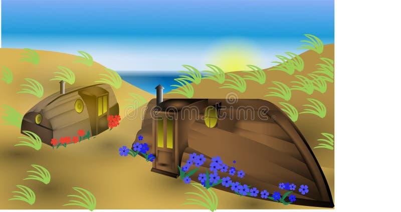 Fantasía en los barcos de casa al revés de la playa ilustración del vector