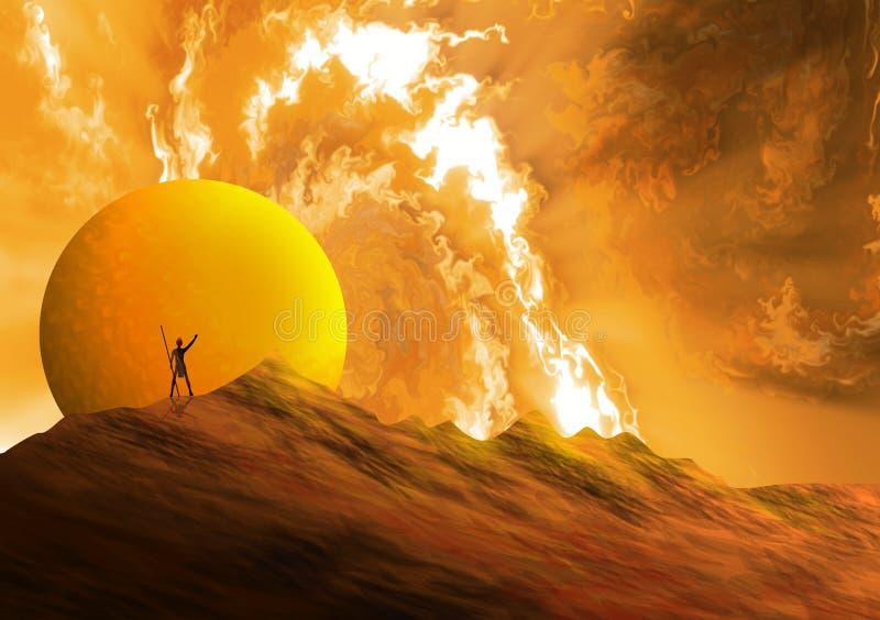 Fantasía paisajística con firmamento en tono dramático y con planetas En primer plano una silueta de un guerrero contra la luz ilustración del vector
