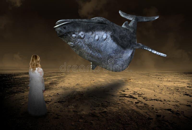 Fantasía surrealista de la ballena que vuela, imaginación, chica joven stock de ilustración