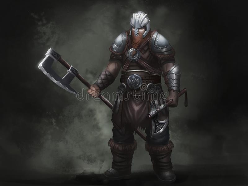 Fantasía Viking nórdico Diseño de carácter del guerrero Ilustraci?n realista stock de ilustración