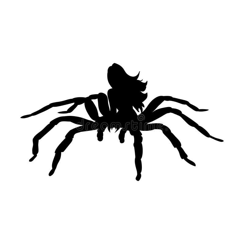 Fantas antichi di mitologia della siluetta della donna del mostro del ragno aracne illustrazione vettoriale