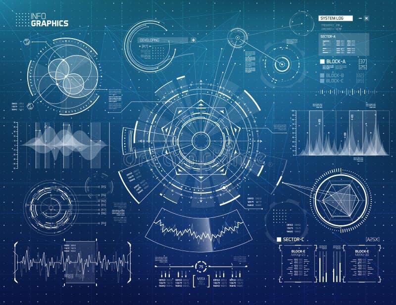 Fantascienza futuristica HUD Elements Set illustrazione di stock