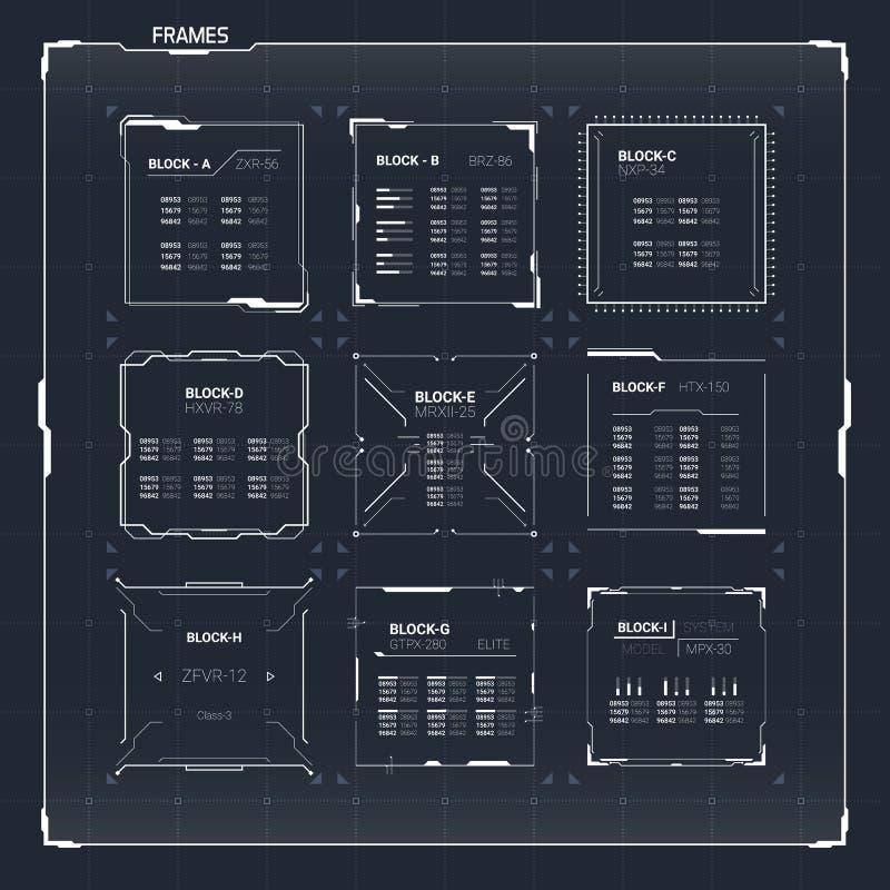 Fantascienza HUD Ui Square Frames illustrazione vettoriale