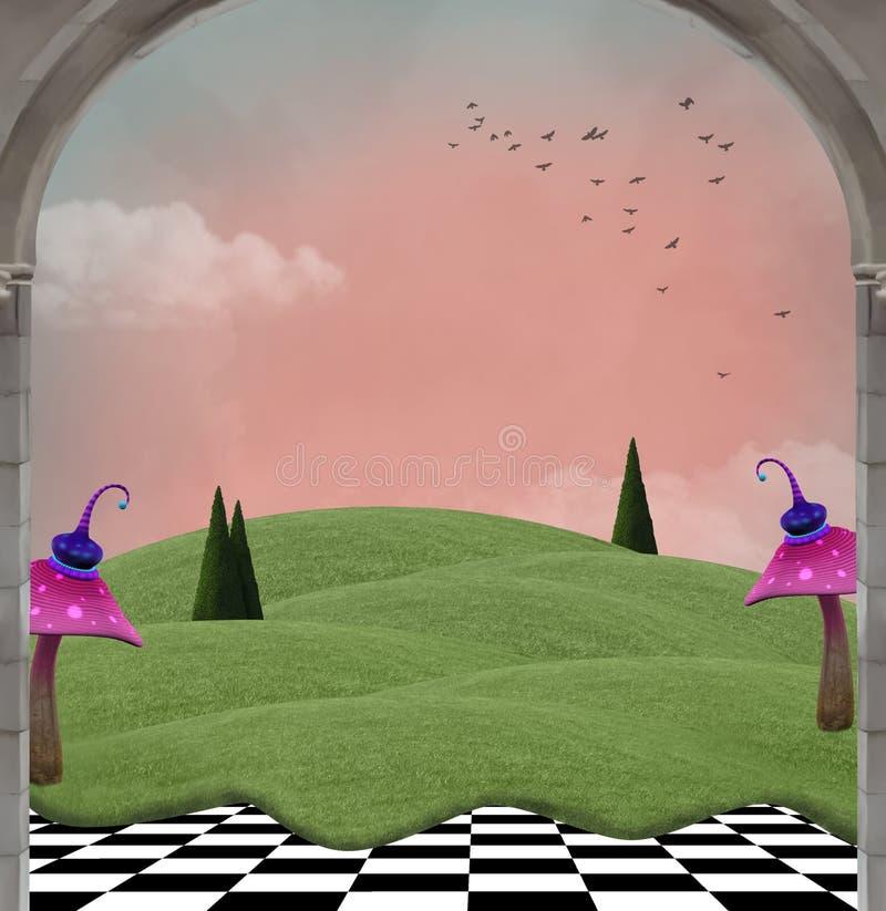 Fantasiänglandskap med violetta champinjoner vektor illustrationer