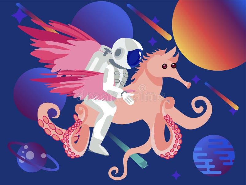 Fantasi astronaut som rider en seahorse med bläckfisktentakel Natthimmel med massor av stj?rnor I plan vektor f?r minimalist stil royaltyfri illustrationer