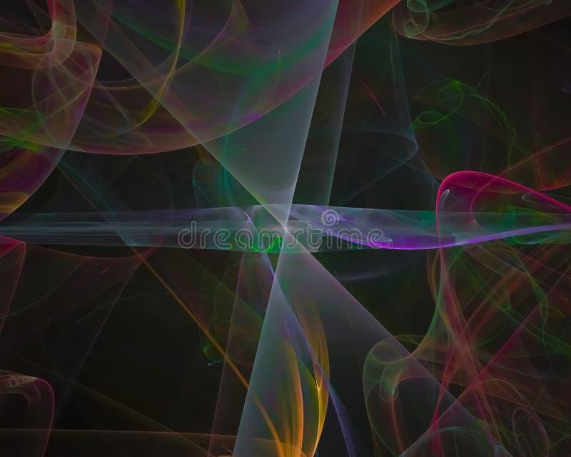 Fantasi för mall för krullning för abstrakt för fractalfantasibeståndsdel vetenskap för bakgrund färgrik grafisk, dekorativ framt royaltyfri illustrationer