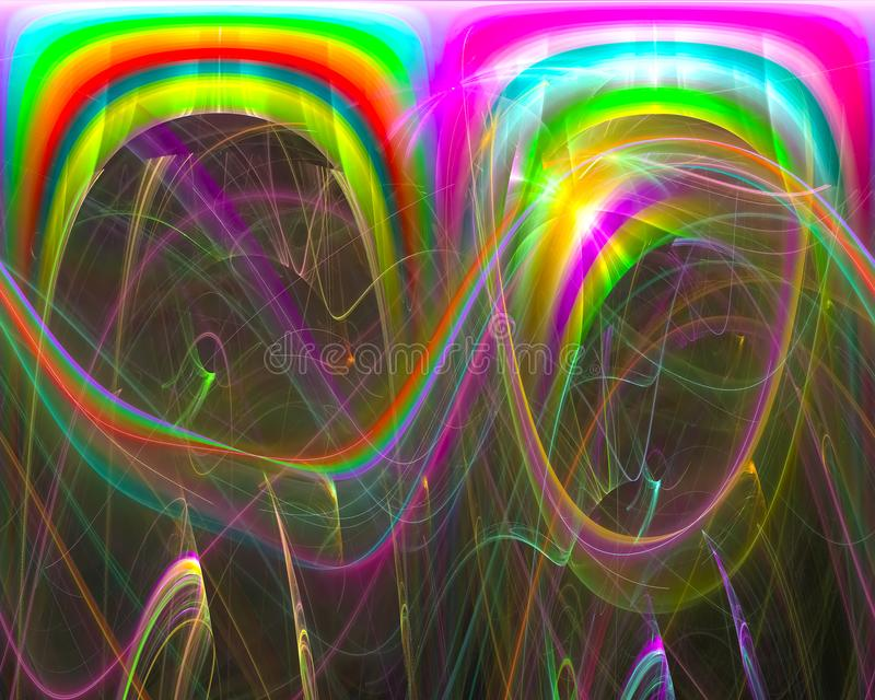 Fantasi för mall för krullning för abstrakt för fractalfantasigarnering för beståndsdel bakgrund för form grafisk, framtid, kort royaltyfri illustrationer