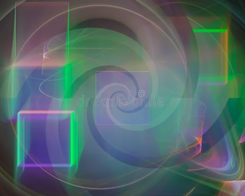 Fantasi för mall för krullning för abstrakt vetenskap för fractalfantasi färgrik grafisk, dekorativ framtid, kort stock illustrationer