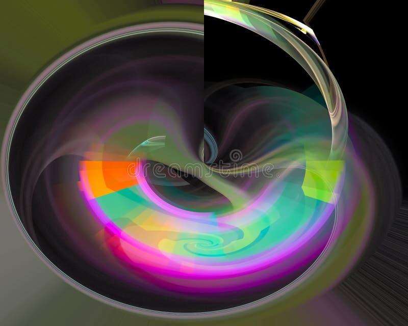 Fantasi för mall för krullning för abstrakt vetenskap för fractalfantasibakgrund färgrik grafisk, dekorativ framtid, kort vektor illustrationer