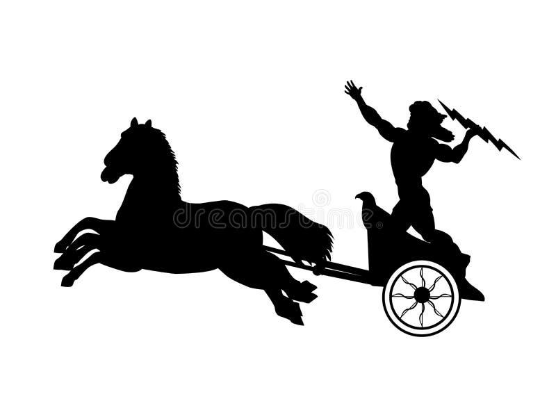 Fantasi för mytologi för kontur för blixt för Zeus Jupiter gudtriumfvagn forntida stock illustrationer