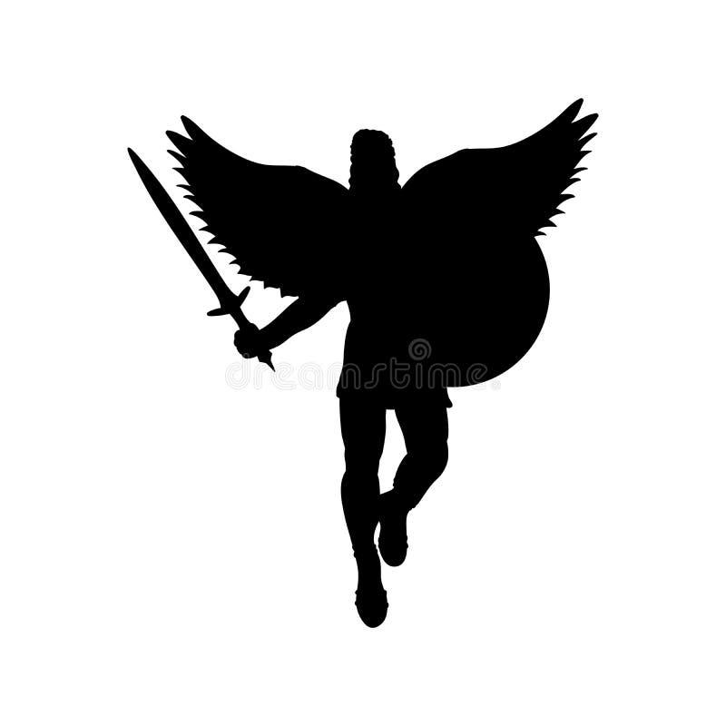 Fantasi f?r mytologi f?r kontur f?r vingar f?r Ares gudkrig forntida royaltyfri illustrationer