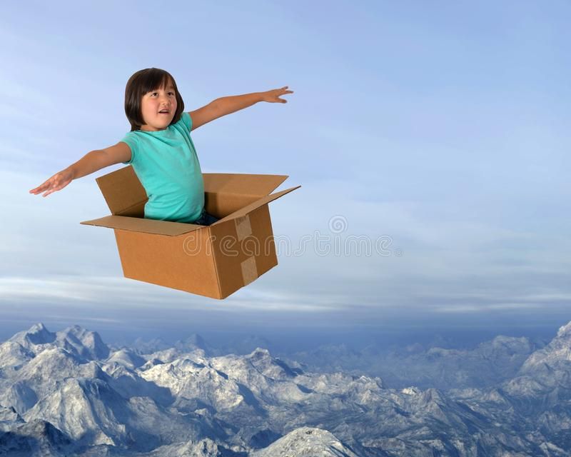 Fantasi flyg, flicka, rast, gyckel, barndom royaltyfri bild