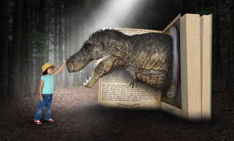 Fantasi gyckel, lek, flicka, Dinoaur royaltyfri bild
