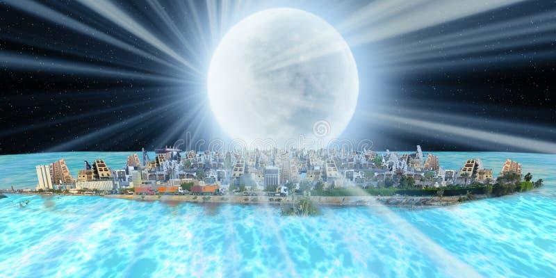 Fantasi jeddah över havet på natten med månestrålen fotografering för bildbyråer
