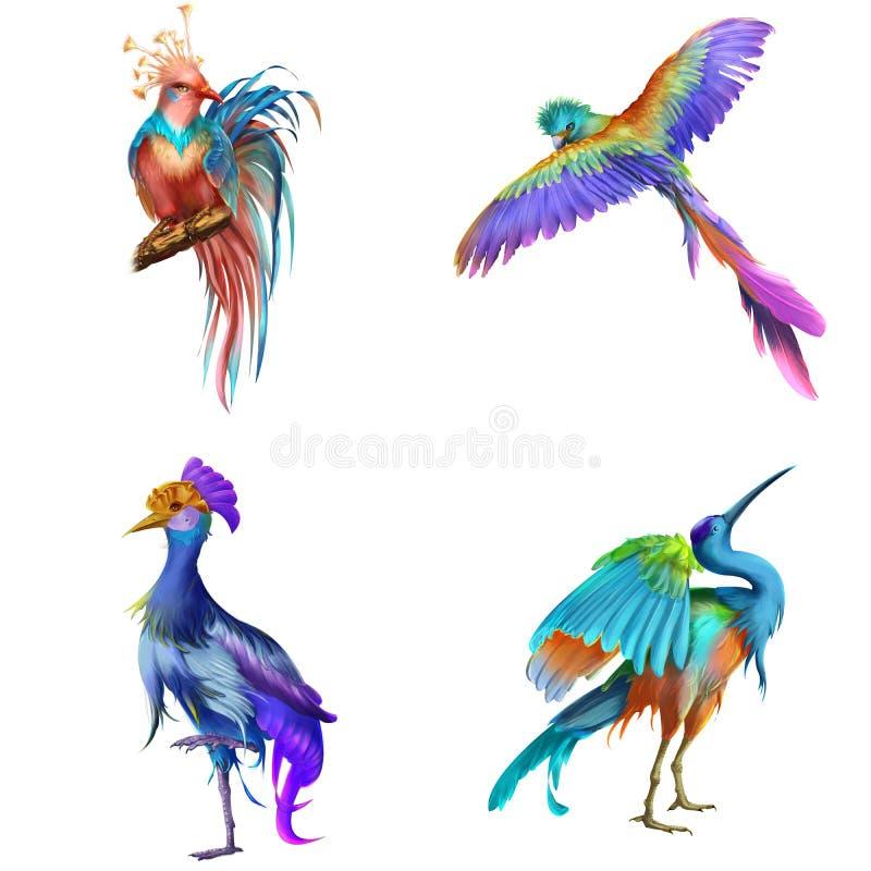 Fantasi och realistisk fågel Djur teckendesign Begreppskonst stock illustrationer