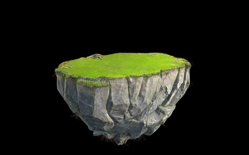 fantasi som 3D svävar ön med land för grönt gräs som isoleras på svart stock illustrationer