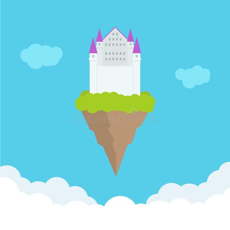 Fantasi som heavently flyger slotten i moln också vektor för coreldrawillustration royaltyfri illustrationer