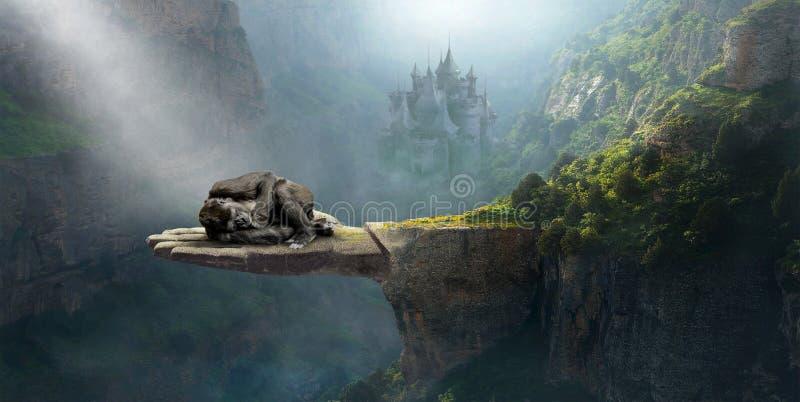 Fantasi som sover gorillan, fantasi, natur som är overklig royaltyfri bild