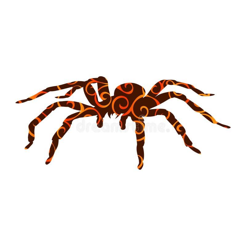 Fantasia antica di mitologia della siluetta del modello del mostro del ragno illustrazione di stock