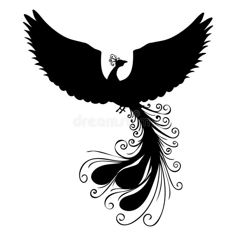 Fantasia antica di mitologia della siluetta dell'uccello di Phoenix illustrazione vettoriale