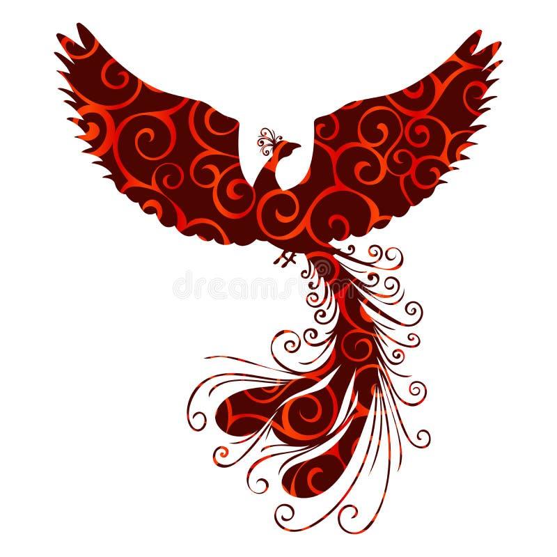Fantasia antiga da mitologia da silhueta do teste padrão do pássaro de Phoenix ilustração stock