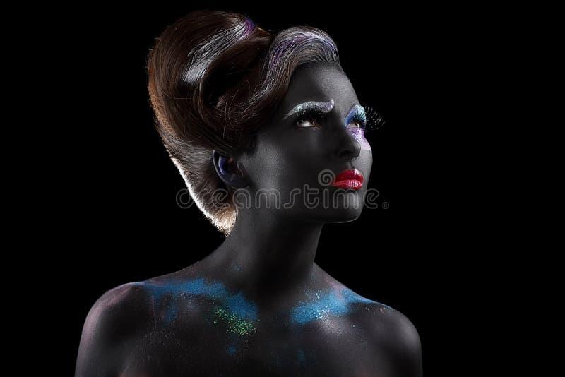 fantasia artistry Donna esagerata con Bodyart futuristico creativo fotografia stock