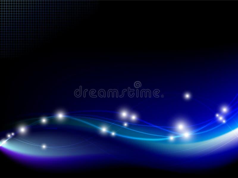 Fantasia blu con le luci allegre su fondo nero royalty illustrazione gratis