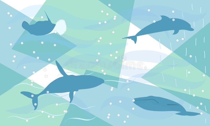 Fantasia colorida abstrata subaqu?tica Imagem das baleias e do golfinho no mar Pintado à mão, pintura das crianças surreal ilustração royalty free