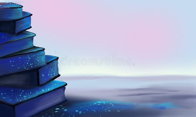 Fantasia con i libri, luce magica, libri illustrazione di stock