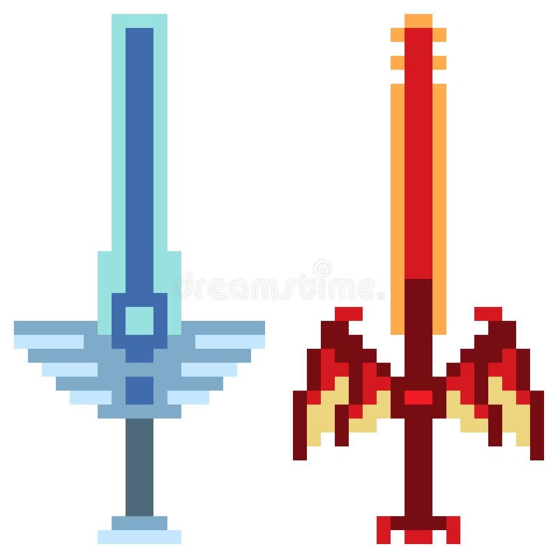 Fantasia da espada do ícone da arte do pixel da ilustração ilustração do vetor
