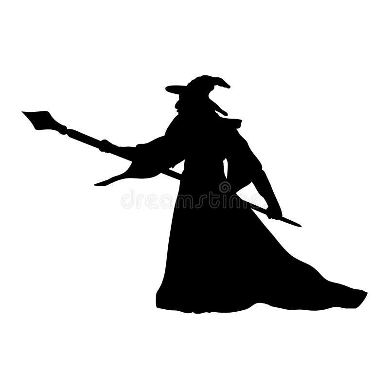 Fantasia da silhueta do caráter do feiticeiro do mágico ilustração royalty free