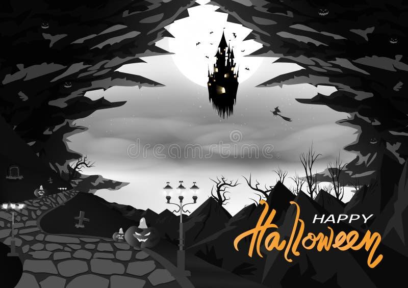 Fantasia de flutuação feliz da silhueta do Dia das Bruxas, monocromático, místico do castelo com caverna e montanhas, sumário do  ilustração do vetor