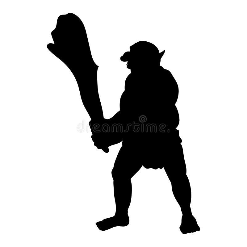 Fantasia del furfante del mostro della siluetta di Troll illustrazione di stock