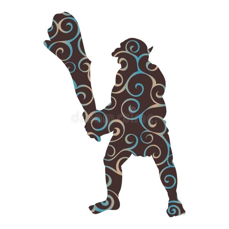 Fantasia del furfante del mostro della siluetta del modello di Troll illustrazione di stock