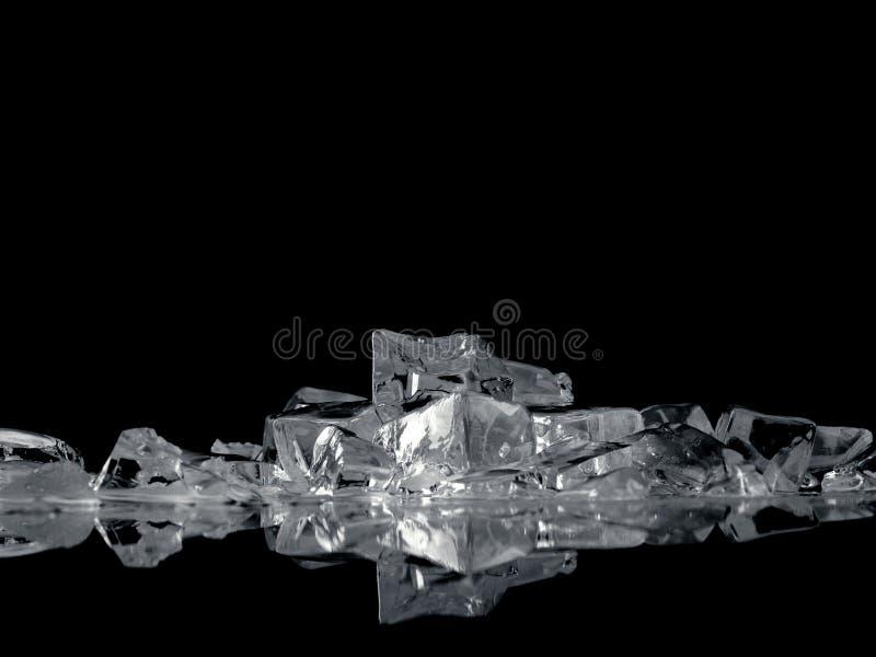 Fantasia del ghiaccio sul nero fotografia stock libera da diritti
