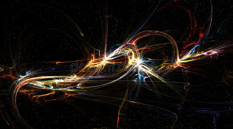 Fantasia dello spazio, rimbalzo della cascata di energia illustrazione vettoriale