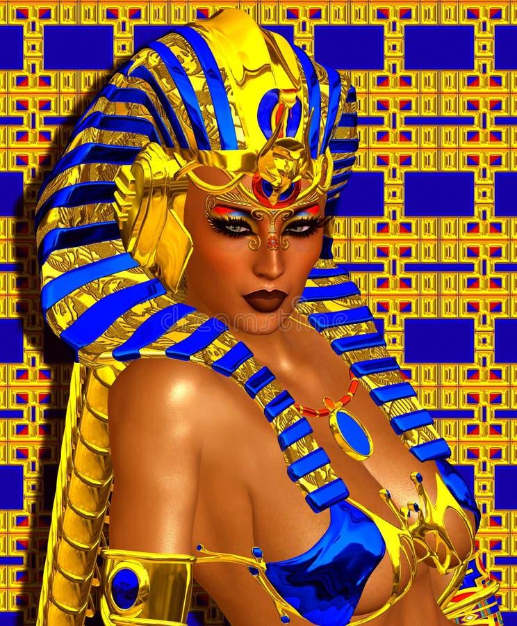 A fantasia digital da arte de Cleopatra ajustou-se em um ouro e em um fundo abstrato azul ilustração royalty free