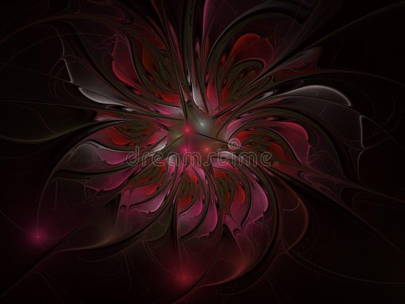 Fantasia do Fractal e flor art?stica Fundo futurista brilhante bonito ilustração stock