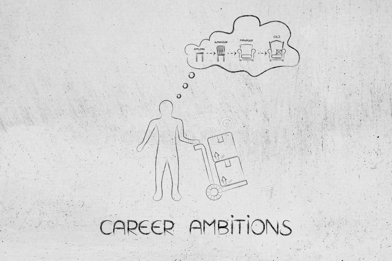 Fantasia do trabalhador da logística do progresso do empregado ao CEO ilustração stock