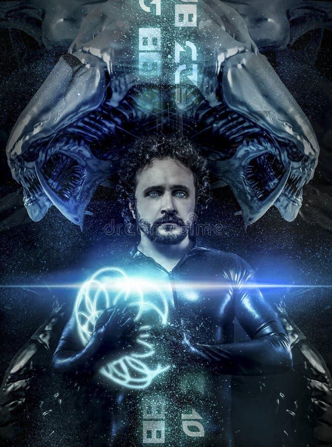 Fantasia e la fantascienza, uomo nero del lattice con sphe al neon blu illustrazione di stock
