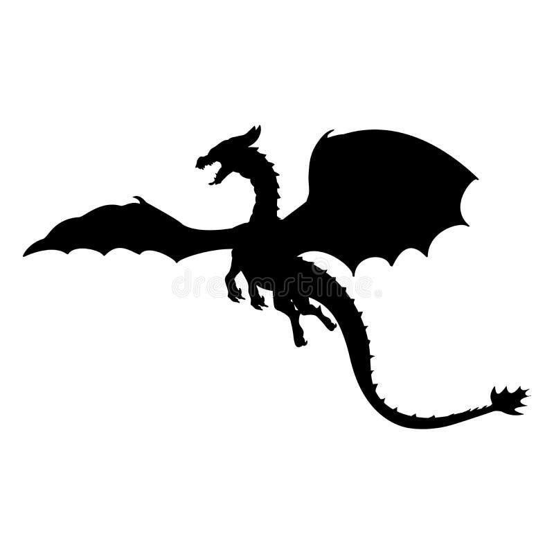 Fantasia fantástica da mitologia do símbolo da silhueta do dragão ilustração stock