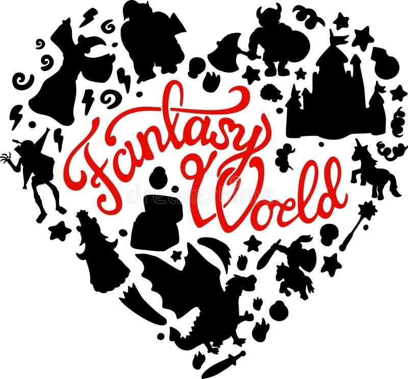 Fantasia fissata con le creature e le siluette di eroi royalty illustrazione gratis