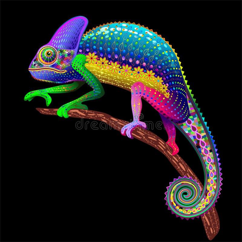 Fantasia floral do arco-íris do camaleão ilustração stock