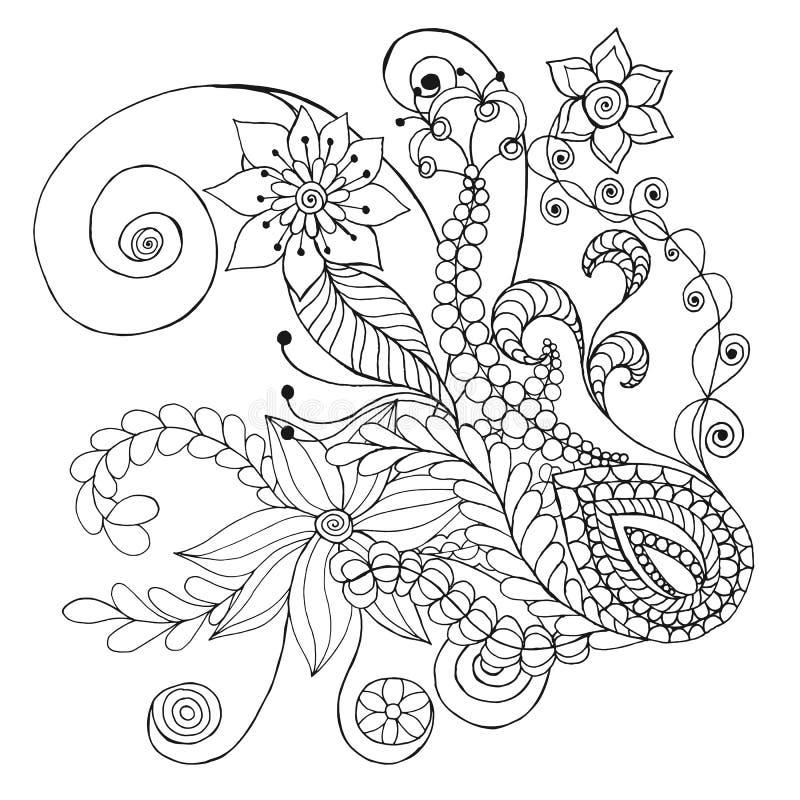 A fantasia floresce a página da coloração ilustração stock