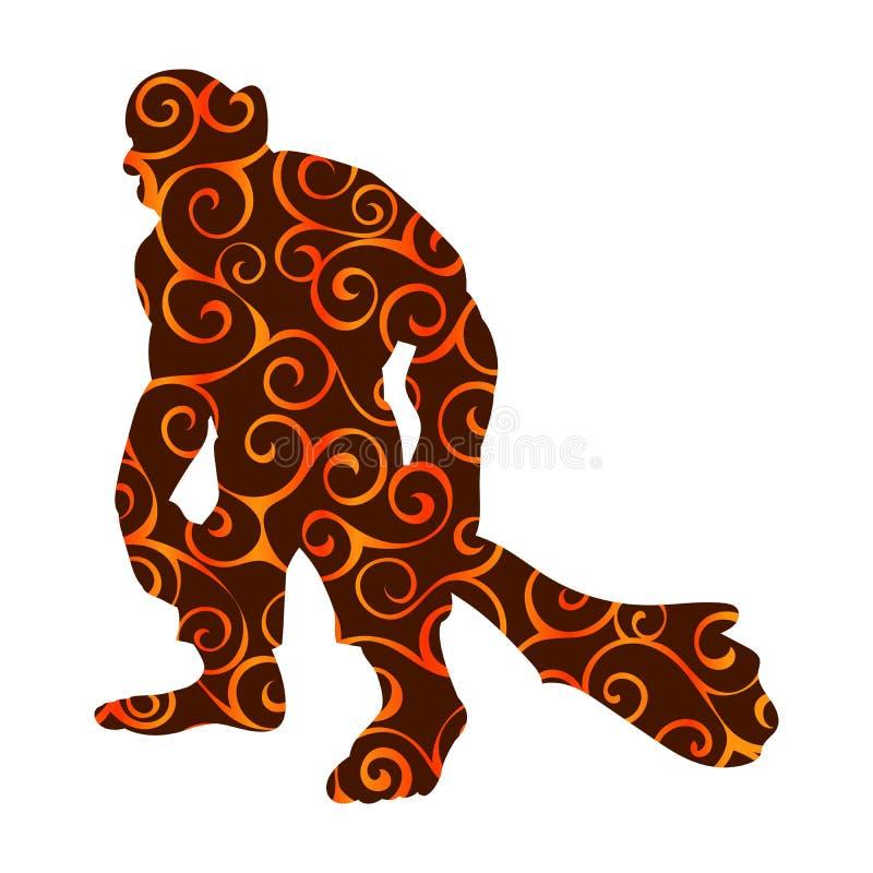 Fantasia gigante del furfante del mostro della siluetta del modello della persona illustrazione vettoriale