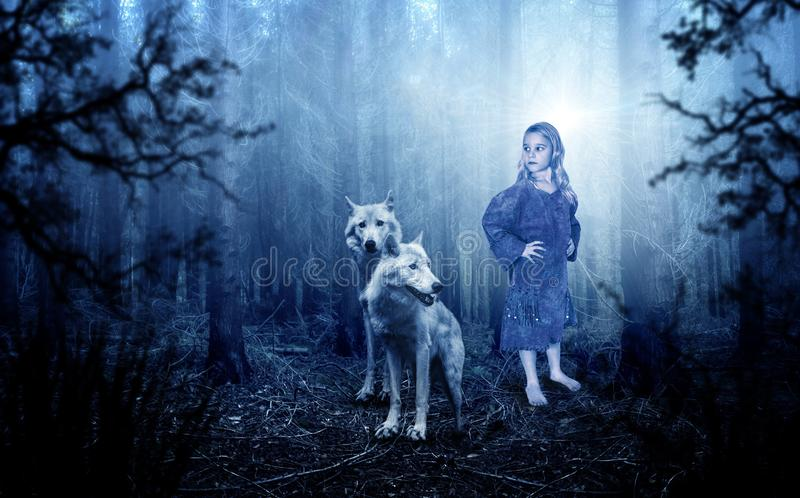 Fantasia, Imagaintation, natureza, lobo, lobos, moça foto de stock royalty free