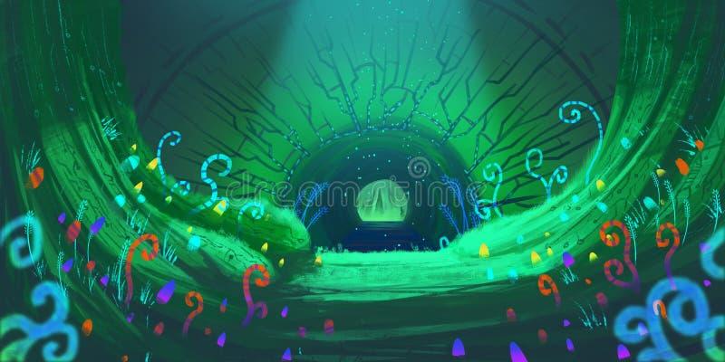 Fantasia maravilhosa Forest Fiction Backdrop Arte do conceito Ilustração realística Arte finala de Digitas CG do jogo de vídeo Na ilustração stock