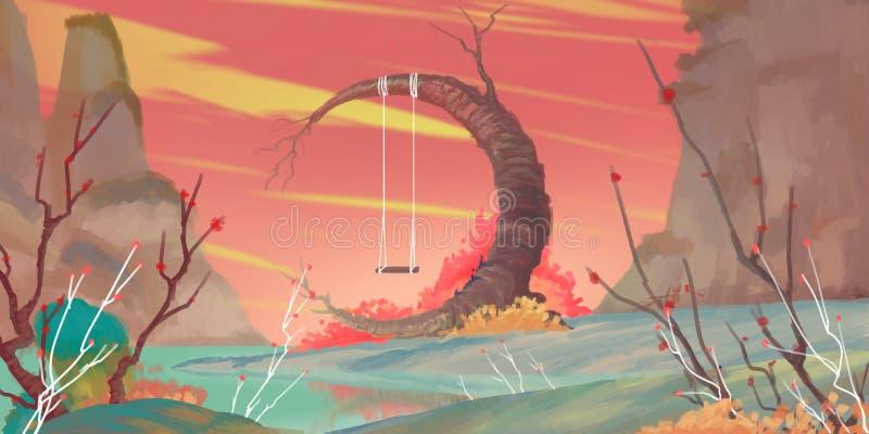Fantasia maravilhosa Forest Fiction Backdrop Arte do conceito Ilustração realística ilustração do vetor