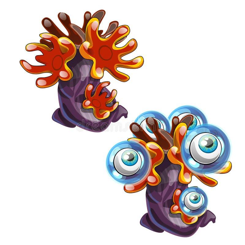 A fantasia muito-eyed o pólipo marinho isolado no fundo branco Ilustração do close-up dos desenhos animados do vetor ilustração stock
